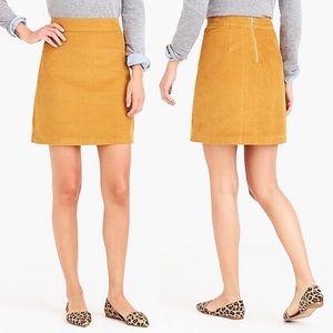 J. Crew Corduroy Mini skirt in Warm Camel